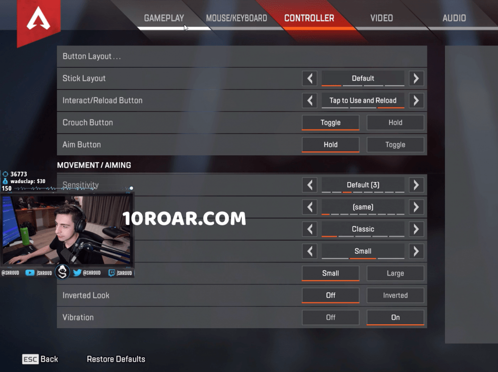 Apex Legends Settings keybinds