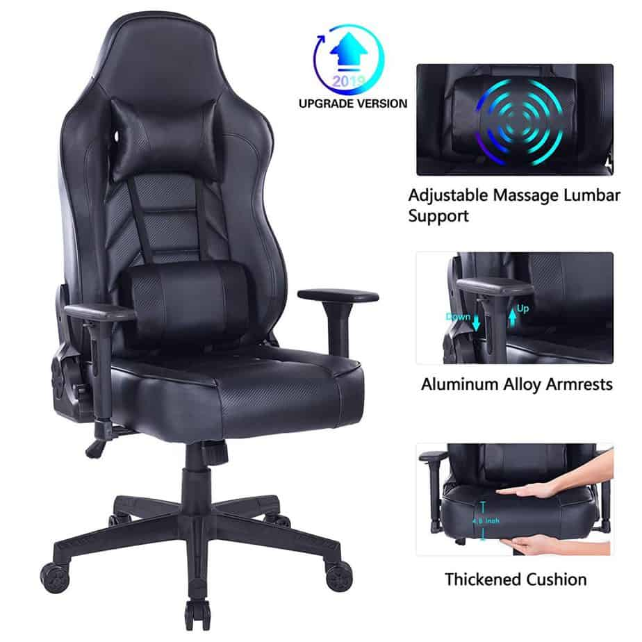 Blue Whale Gaming Chair with Massage Lumbar Pillow, PC Computer Video Game Racing Chair Reclining Executive Ergonomic Office Desk Chair with Headrest best gaming chair for long hours