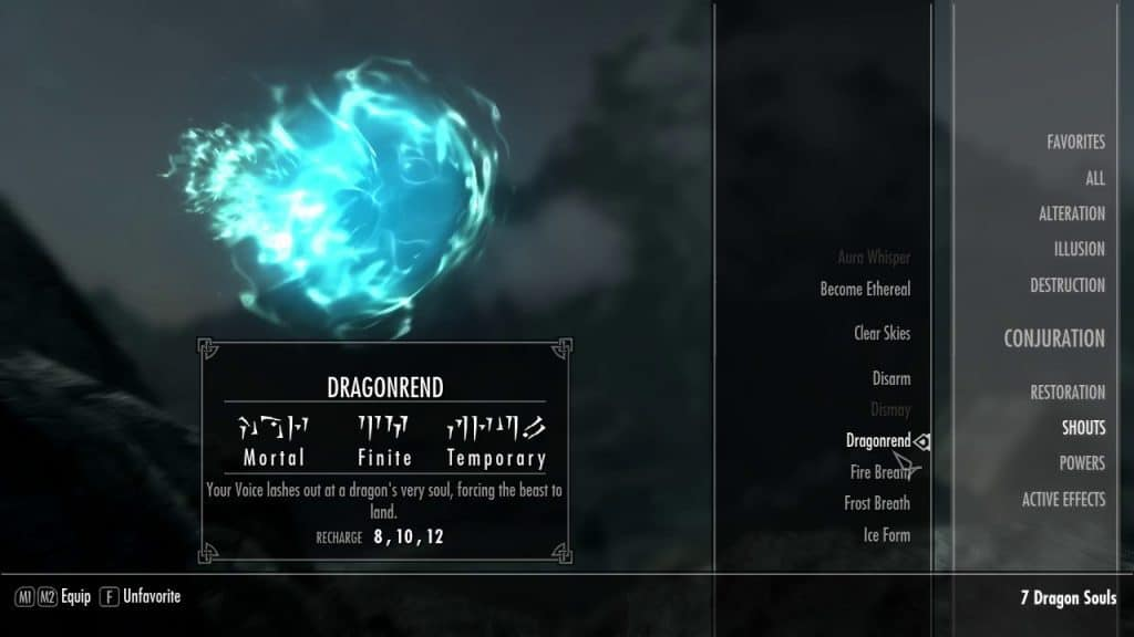 Dragonrend best shouts skyrim