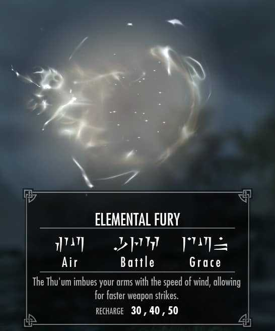 Elemental Fury best shouts skyrim