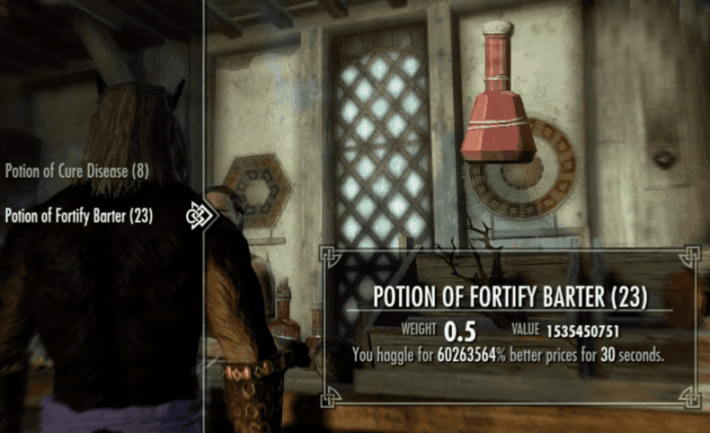 Fortify Barter Potion skyrim best potions