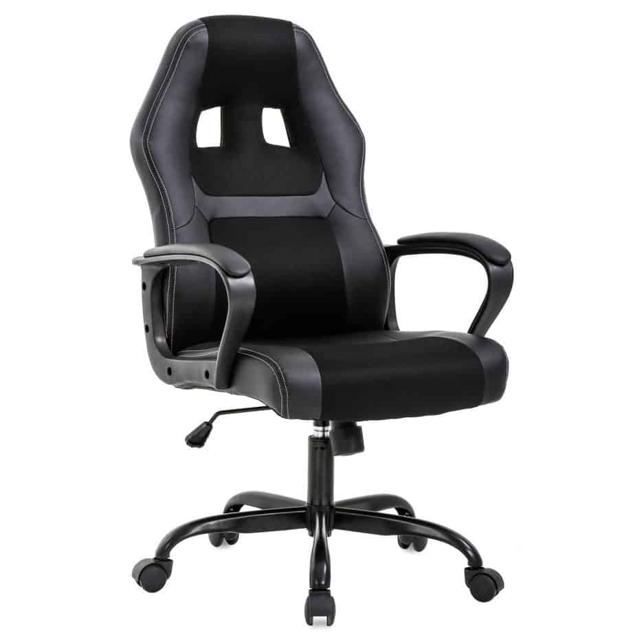 bestoffice Office Chair PC Gaming Chair Desk Chair Ergonomic PU Leather Executive Computer Chair Lumbar Support games best gaming chair for long hours