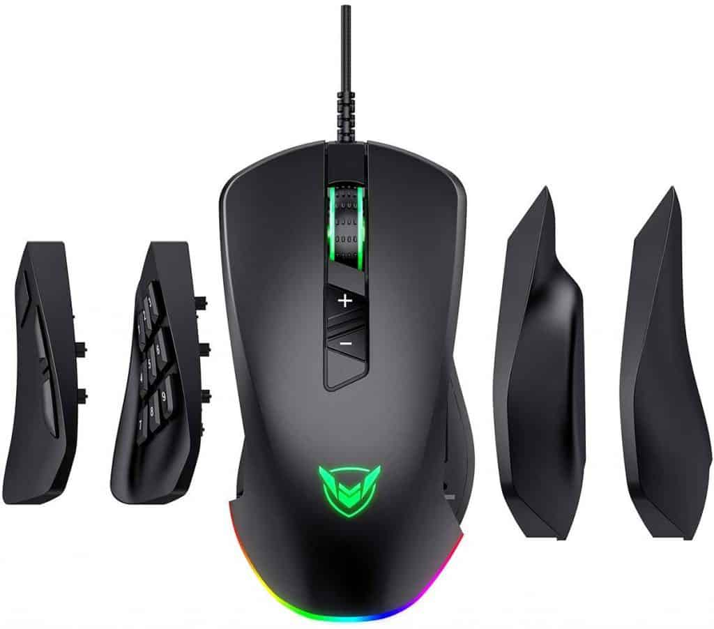 PICTEK Gaming Mouse Wired, 24,000 DPI Optical Sensor-Chroma RGB Lighting, MMO Gaming Mice with 17 Programmable Buttons, 4 Interchangeable Side Plate best gaming mouse for eso elder scrolls online