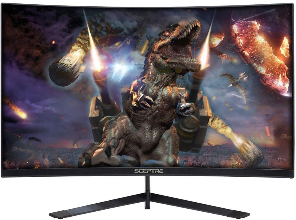 Sceptre 27 inch Curved 144Hz Gaming LED Monitor Edge-Less AMD FreeSync DisplayPort HDMI, Metal Black 2019 (C275B-144RN) review best gaming monitor with speakers