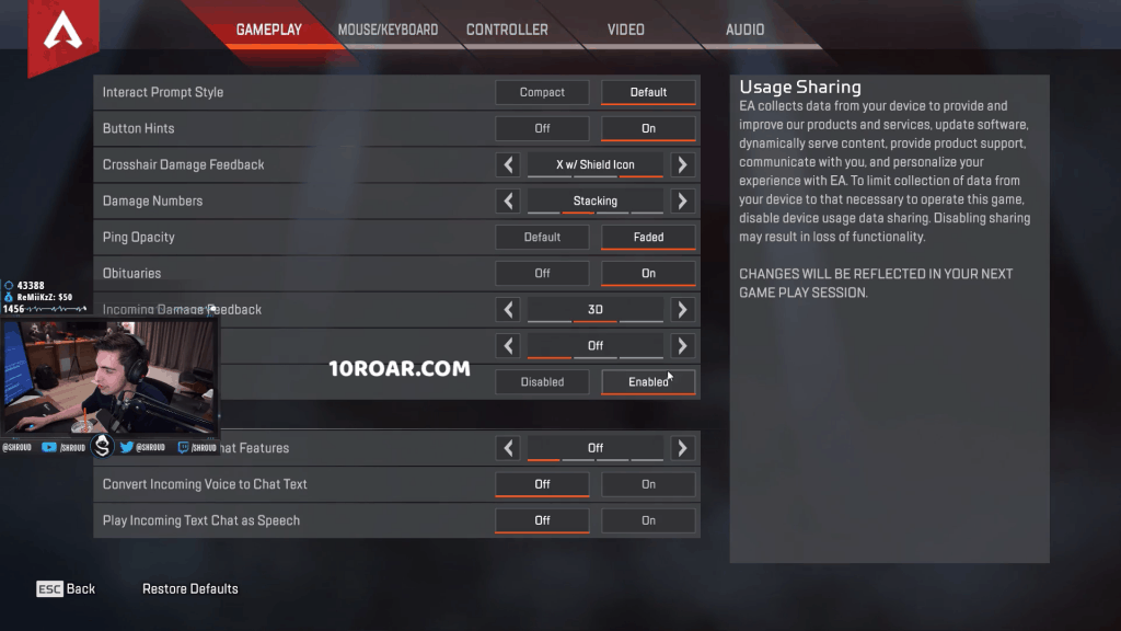 Shroud apex legends settings gameplay