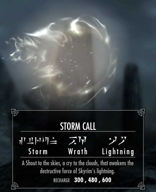 Storm Call best shouts skyrim