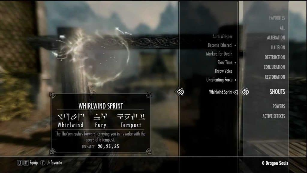 Whirlwind Sprint shout best shouts skyrim