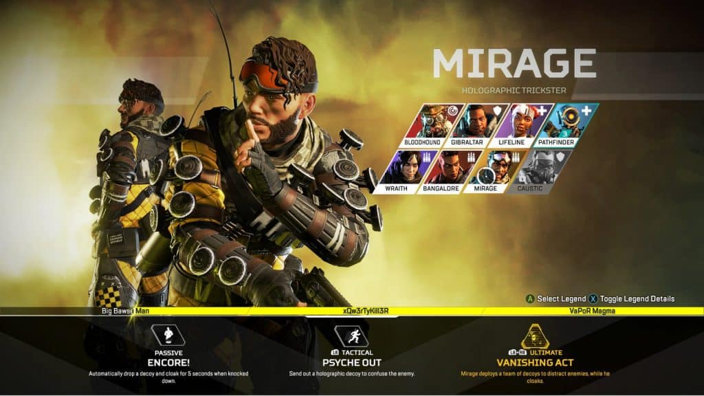 best apex legends character mirage