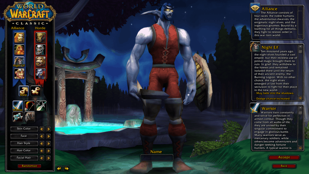 night elf best race for warrior wow classic