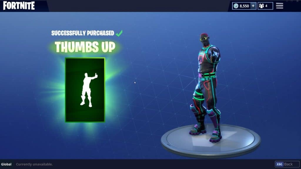 thumbs up emote rarest skins fortnite
