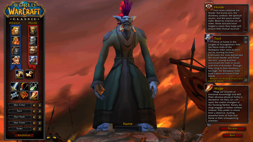 troll best race for mage wow classic