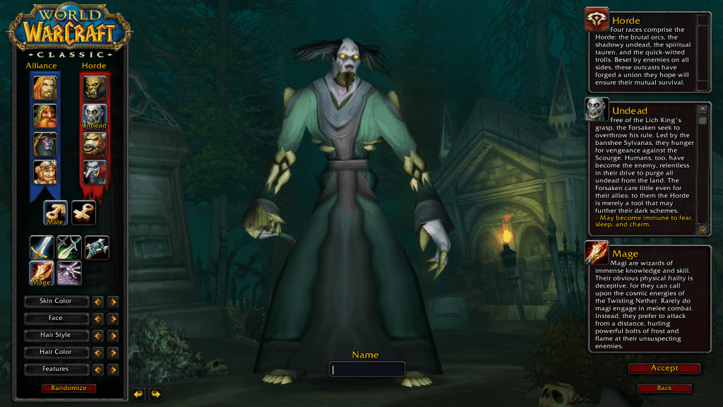 undead best race for mage wow classic