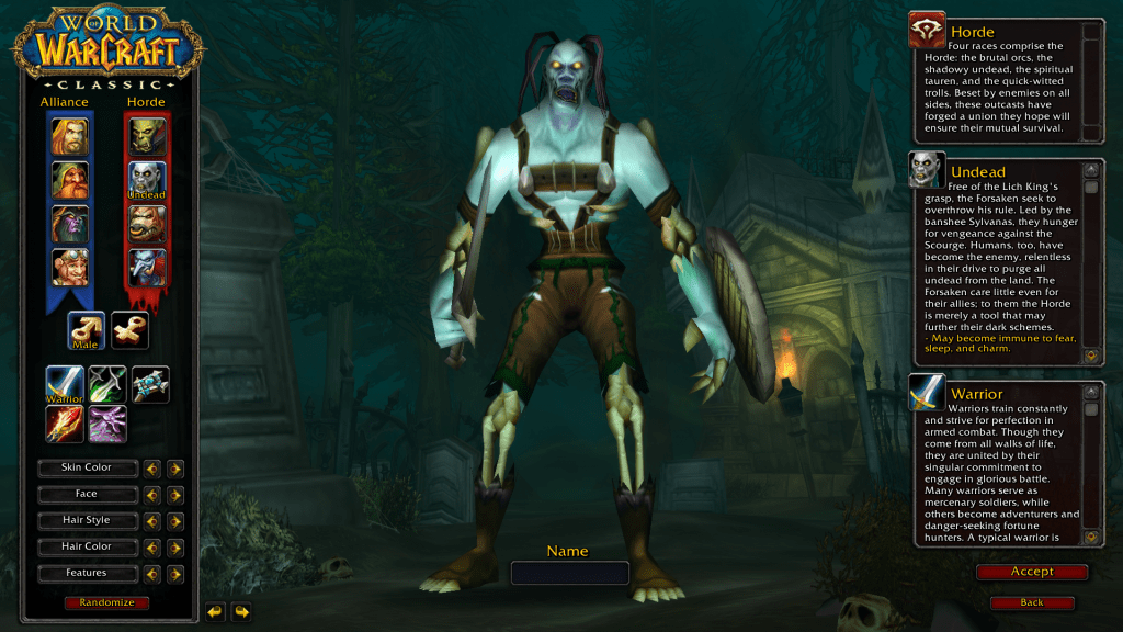 undead elf best race for warrior wow classic